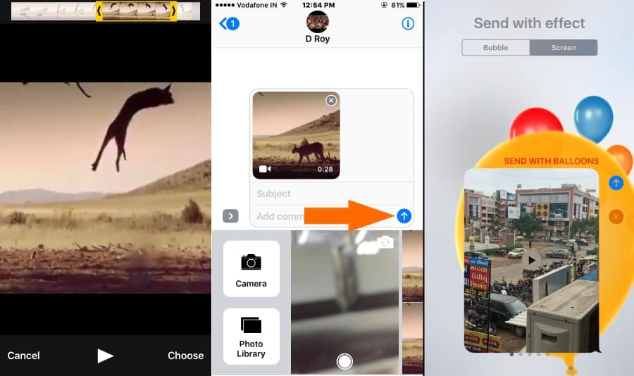 3 Send Video with differet Screen Effect in iOS 10 iMessage