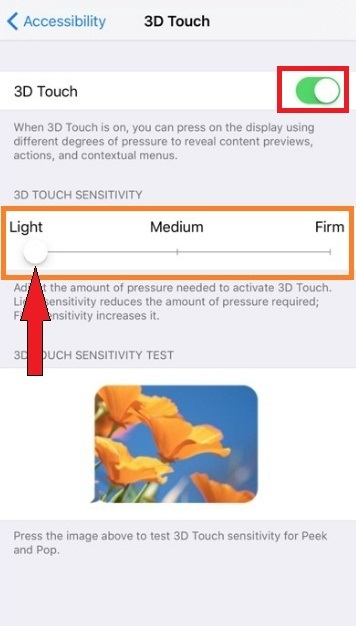 edit 3D touch Presser sensitivity slider on iPhone 7 Plus
