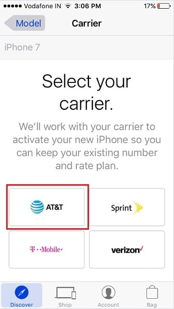 Choose AT&t, Sprint, T-mobile, or Verizon