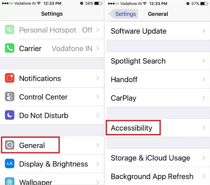 Accessibility screen in iOS 10