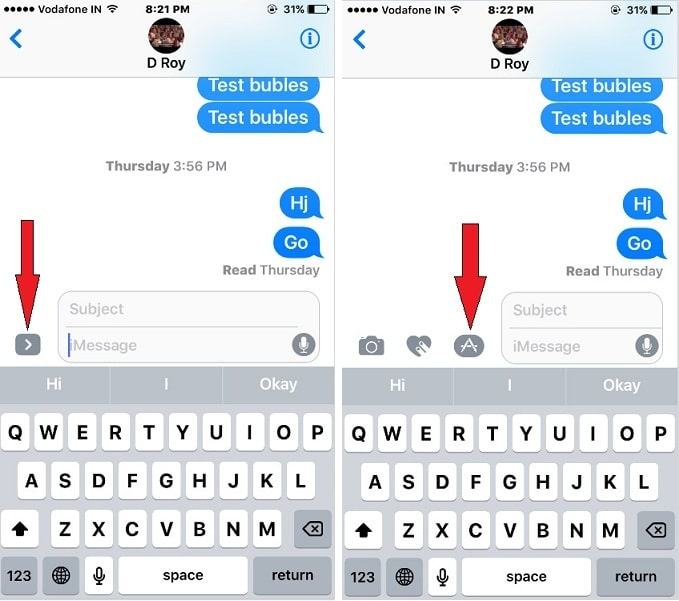 iMessage App  more Option screen