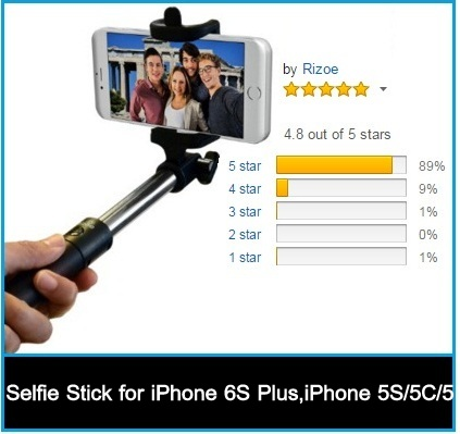 compact iPhone 6 selfie stick with lifetime guarantee