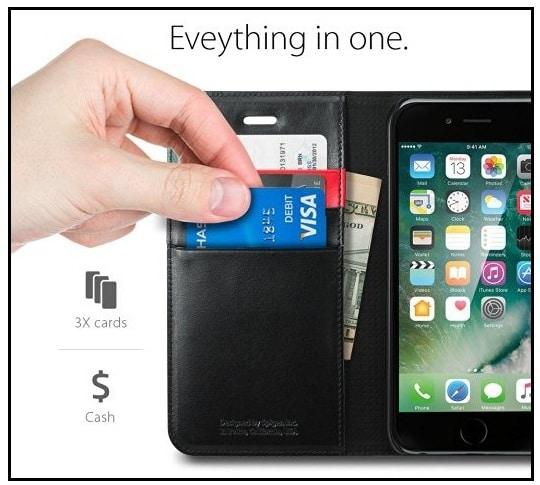 Premium Best leather Wallet Case for iPhone 7 Spigen