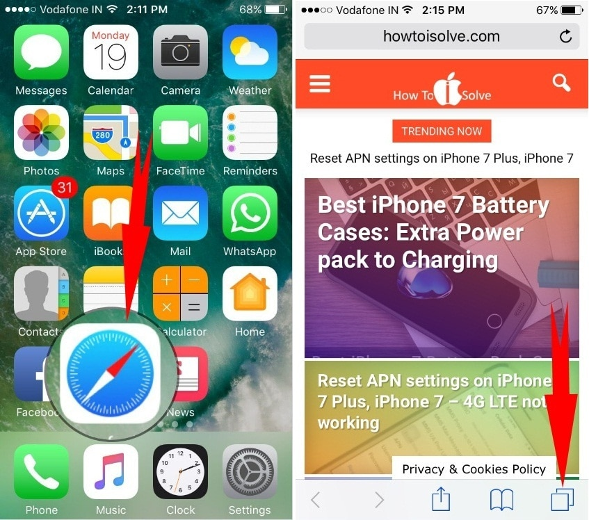 How to  Close All Safari Tabs at once in  iOS 10