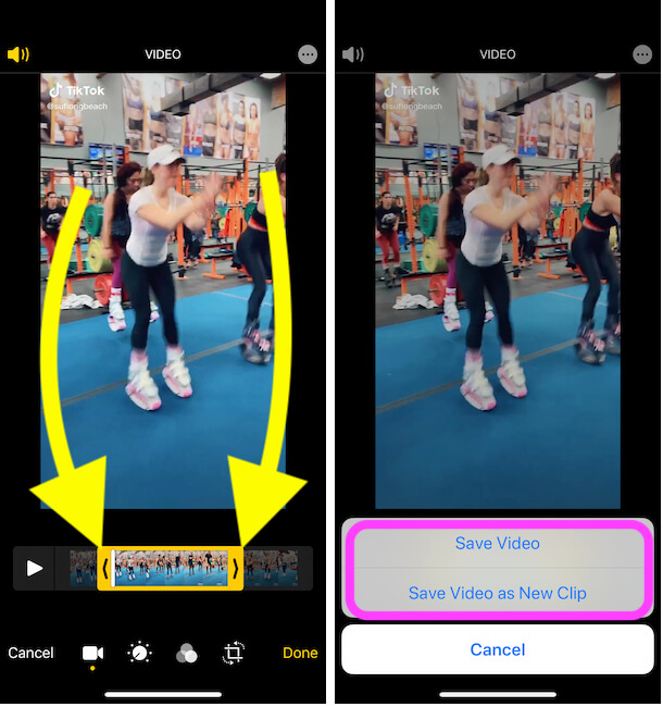 Crop Video on iPhone photos app