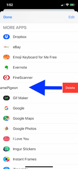 Delete app or Game from iMessage app Drawer on iPhone