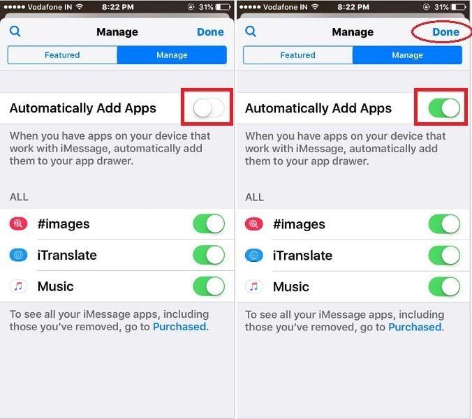 enable –disable Automatically Add Apps to iMessage App Drawer in iOS 10 – iPhone