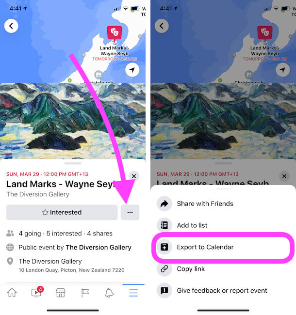 Export Facebook Event to Calendar on iPhone and iPad