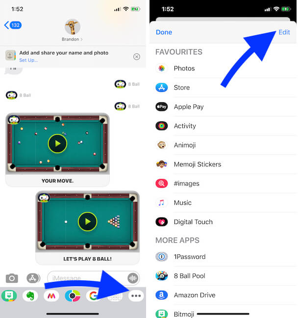 Find installed Game and app in Message app on iPhone