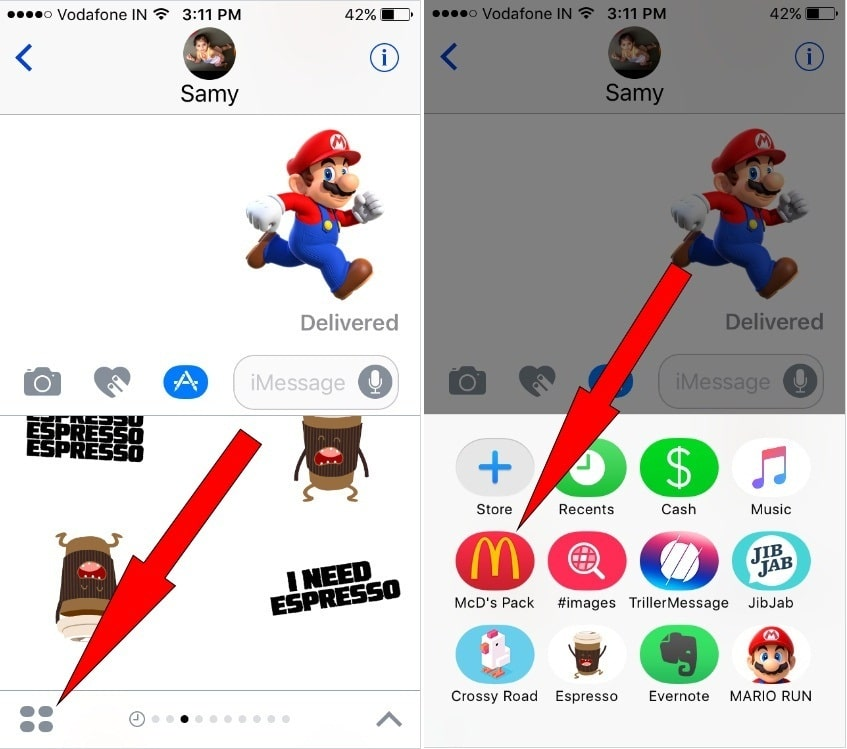 Message Application then open up an iMessage Contact