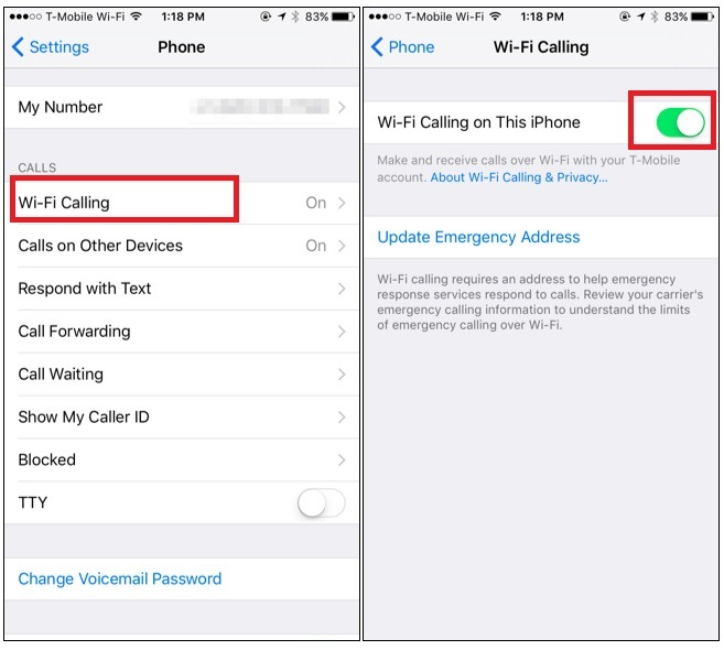Turn Wi-Fi Calling on iPhone 7 ON