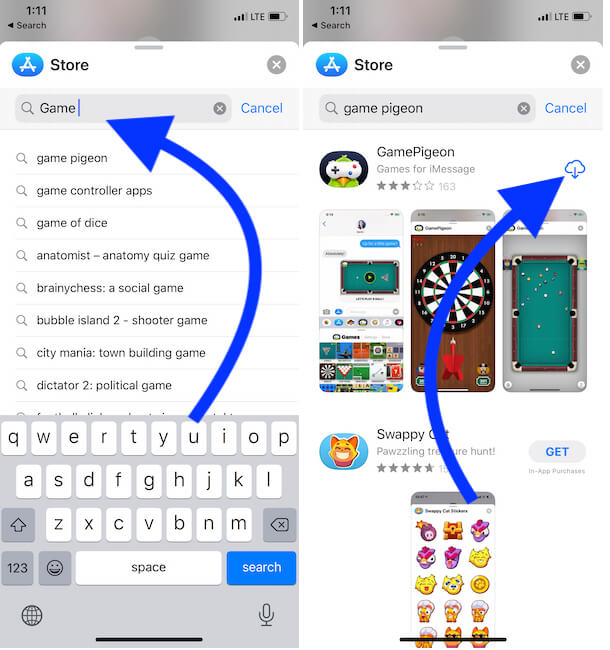Search Game name and install from iMessage app store on iPhone