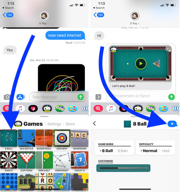 Select Game for play in iMessage on iPhone - 8-9 Ball pool Game