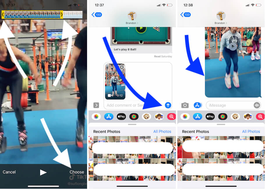Send full or Trimmed video from iMessage on iPhone Messages app