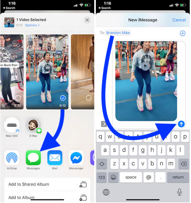 Send video in Messages app on iPhone