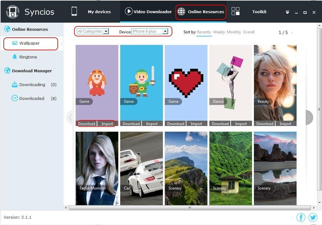 Download Wallpaper using SynciOS app