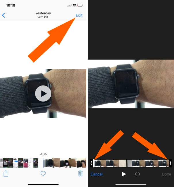 Trim Video on iPhone in iOS 12
