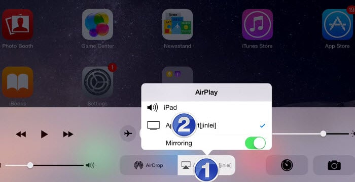 Turn on AirPlay from control center