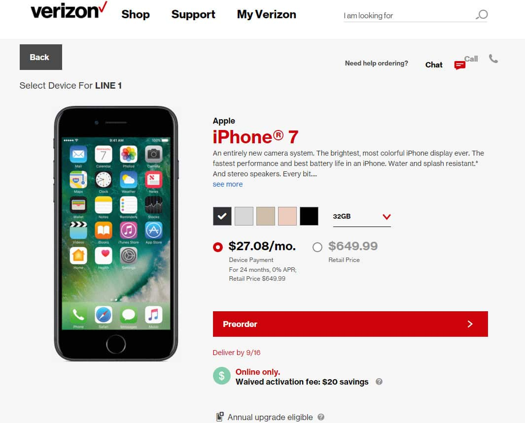 Pre-order iPhone 7 Verizon wireless
