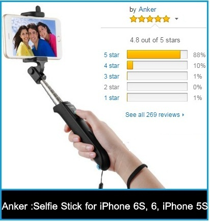 best selfie sticks for iPhone 6S, iPhone 5S and Samsung android