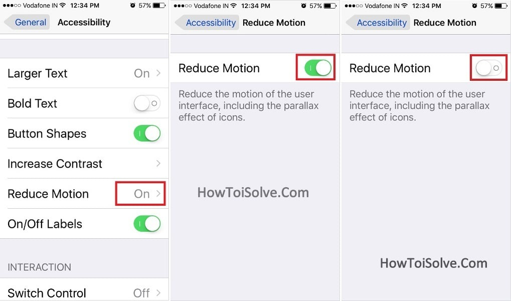 how to Turn Reduce Motion Off on iOS 10, iPhone, iPad, iPod Touch