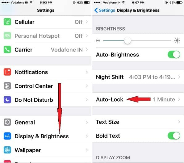 Display & Brightness screen in ios 10 to see Auto-Lock option