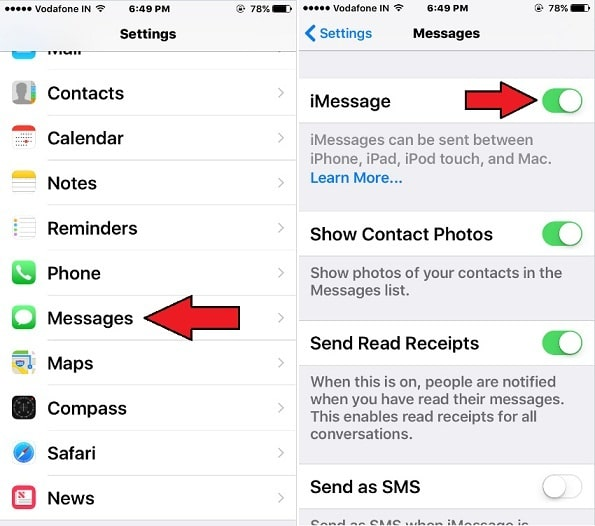 Sing out iMessage and log back in