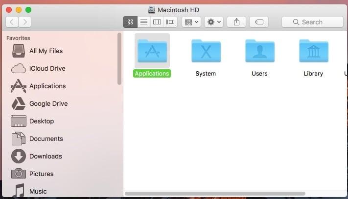 folders popup Mac OS X