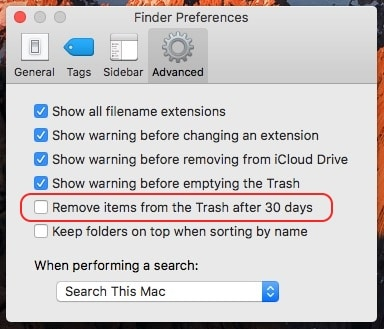 Disable auto remove data from trash folder on Macos Sierra