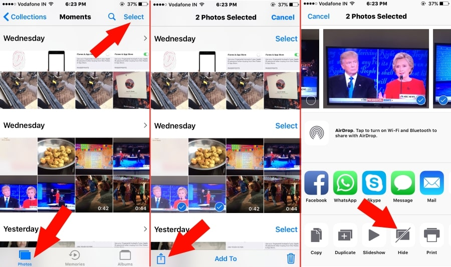 Hide picture on Photo app from iPhone 7 Plus or iPhone 7