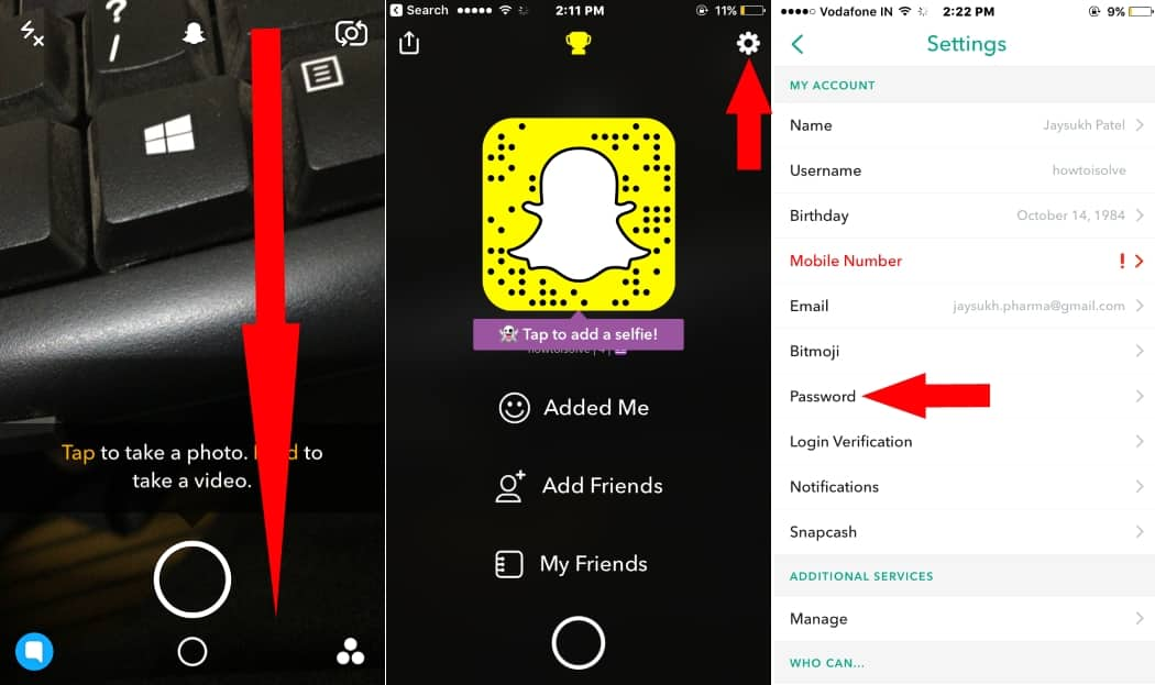 1 Password in Snapchat iPhone app settings