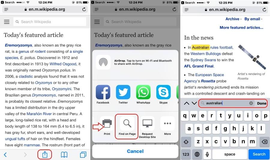 Search text from safari webpage on iPhone, iPad