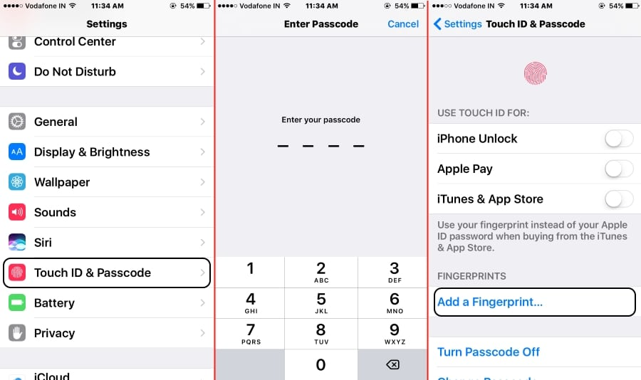 Start Setup for Touch ID fingerprints on iPhone