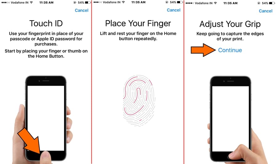 Scan your Finger touch ID on iPhone with iOS 10