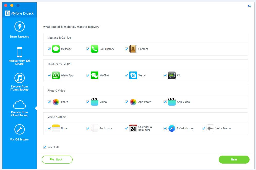 3 Select app that you want recover data from it