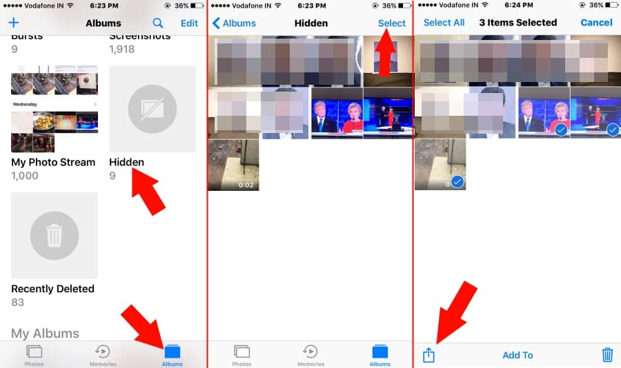 Unhide hidden photo on iOS 10 from iPhone 7 or 7 Plus