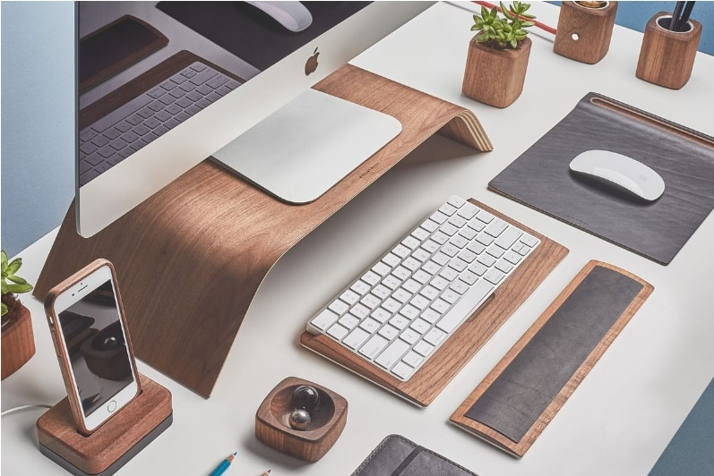 Wooden iMac Stand and Other GroveMade Accessories