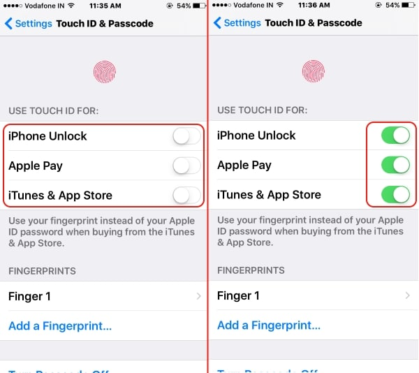 Enable Touch ID on iPhone settings app