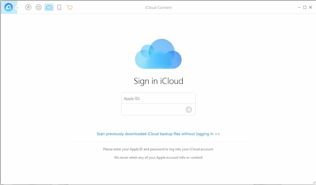 6 iCloud Data extract on anytrans on Mac PC directly