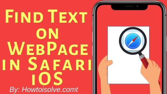 Find Text on WebPage in Safari iOS
