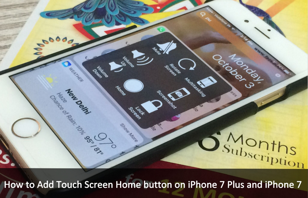 Turn on Add Touch Screen Home button on iPhone 7 Plus on iOS 10 Assistivetouch