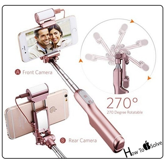 best selfie stick iphone x iphone 8 plus iphone 7 adjustable clamp. Black Bedroom Furniture Sets. Home Design Ideas