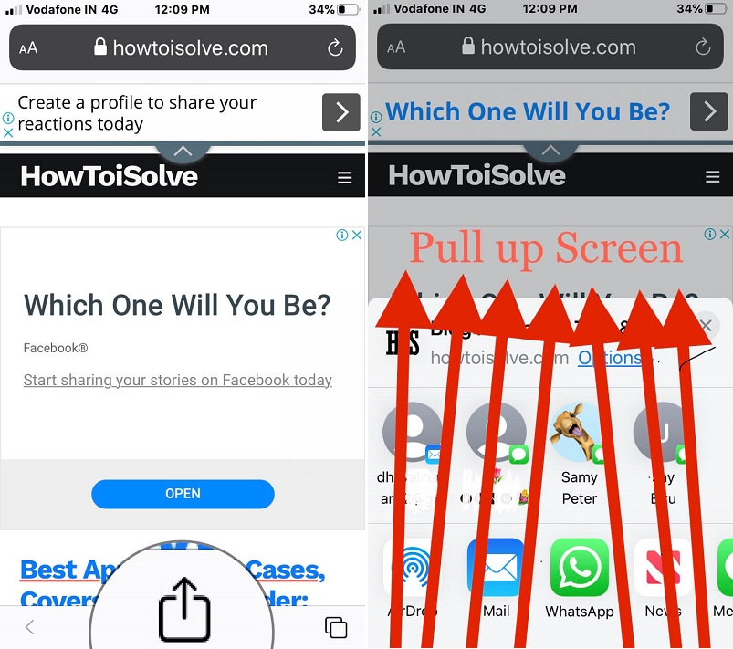 Tap on share icon on safari webpage and pull up shareshee to get find on page tool on iPhone safari
