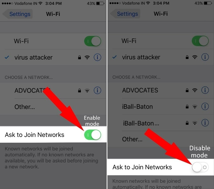 how to turn off iOS 10 Wi-Fi asking to join network