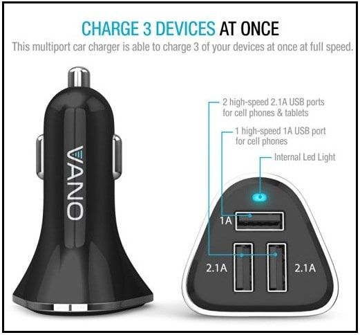 Vano- the 3 USB Port Car Charger for iPhone 7 Plus