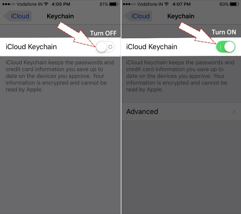 Step wise Apple iCloud Keychain in iOS 10 iPhone i pod touch iPad Air