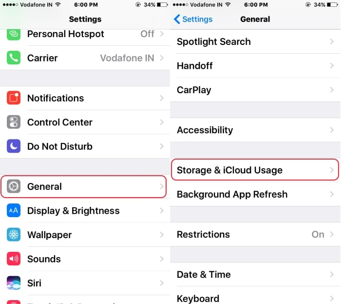 1 Storage and iCloud on iPhone from setting app