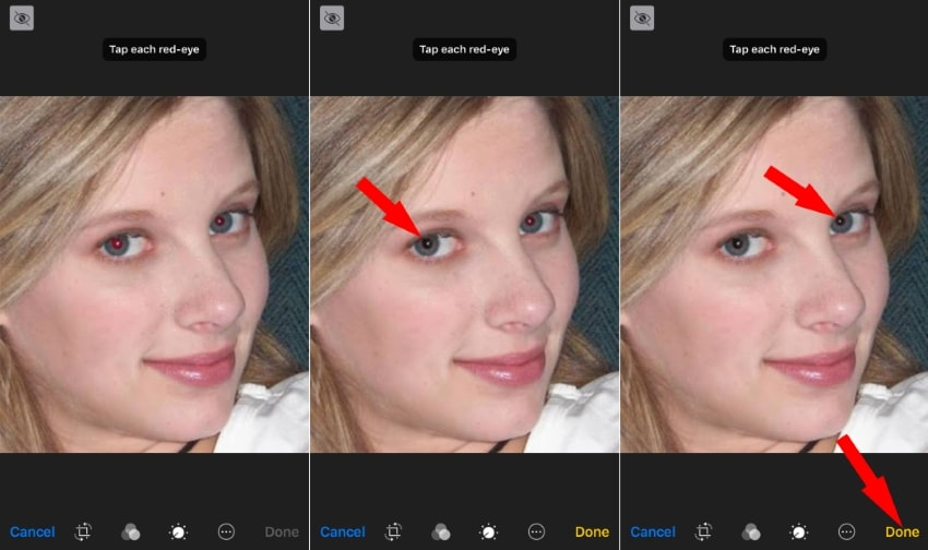 2 Fix red eye manually one by one from Photos app on edit