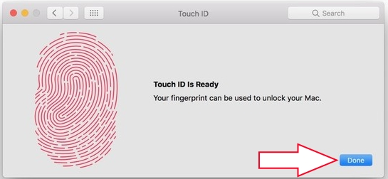Get Touch ID ready after scan fingerprints on Macbook pro