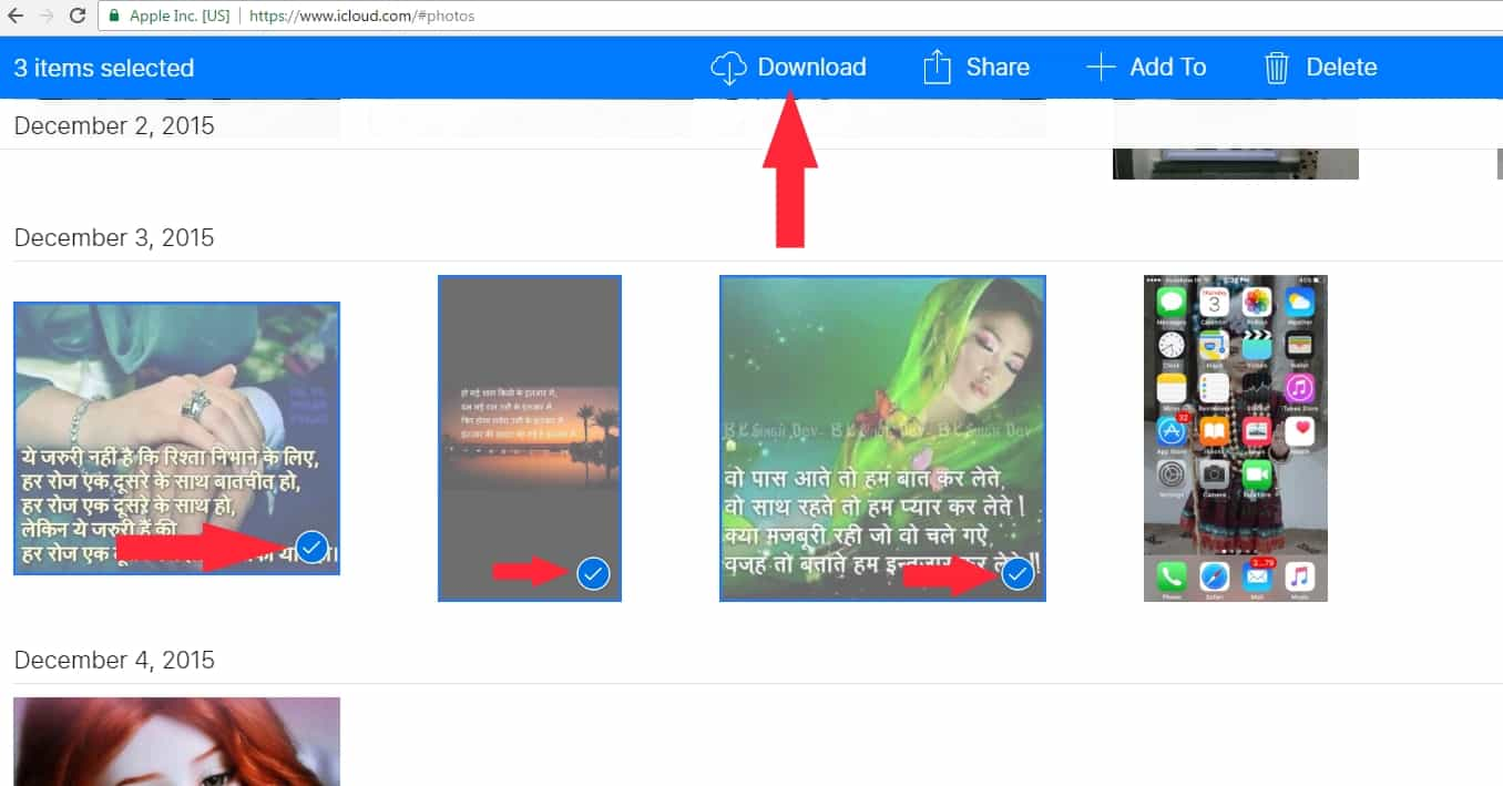 3 Choose multiple photo for downlod from icloud